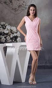 a linie v ausschnitt kurz mini chiffon brautjungfernkleid mit rusche p549 bridesire rosa brautjungfernkleider rosa