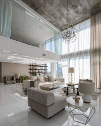 High Ceiling Living Room Designs by Interior Elegant High Ceiling Living Area Interior With Concrete