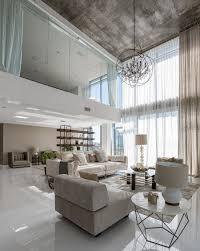 Concrete Loft Interior Elegant High Ceiling Living Area Interior With Concrete