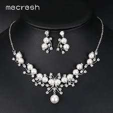 silver bridal necklace set images Mecresh elegant simulated pearl bridal jewelry sets silver color jpg