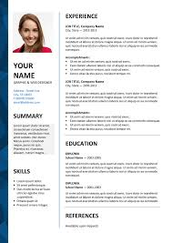 resume with photo template resume templates word resume templates free simple free resume
