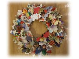 Old Christmas Cards Crafts - christmas wreath cards christmas lights decoration