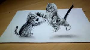 cute cat drawing 3d anamorphic illusion youtube