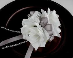 White Rose Wrist Corsage Double White Roses Wrist Corsage For Prom Party Wedding