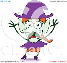 clipart of a scared halloween witch crying royalty free vector