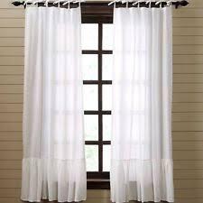 Sheer Ruffled Curtains Ruffled Curtains Drapes Valances With Sheer Fabric Ebay