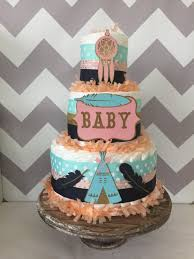 tribal diaper cake in mint coral and navy tribal baby shower