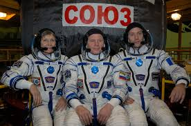 expedition 50 51 in front of their soyuz ms 03 spacecraft nasa