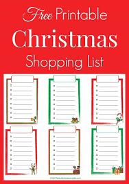 christmas shopping list free printable christmas shopping list