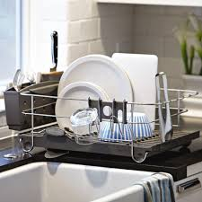 dish drainer for small side of sink functional steel framed dish rack for kitchen counter trends4us com