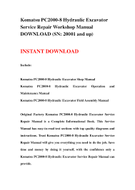 komatsu pc2000 8 hydraulic excavator service repair workshop manual d u2026