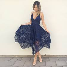 blue lace dress a line spaghetti straps navy blue lace asymmetrical prom