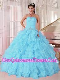 dresses for sweet 15 light blue gown strapless ruffles organza beading pretty