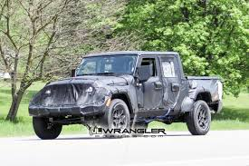 jeep truck 2018 lifted jt wrangler truck testing on public roads shows spare tire mount
