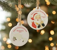 1st Christmas Decorations Baby U0027s First Christmas Personalized Ornaments Pottery Barn Kids