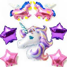 my pony balloons 7pcs large unicorn rainbow purple helium foil balloons 18 inch