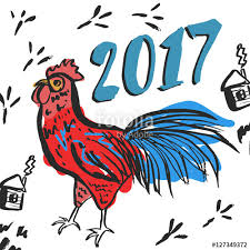 funny new year card with rooster illustration creative card
