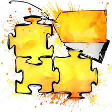 symbol puzzle sticker the idea of selling watercolor background