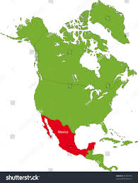 Mexico On The Map by Location Mexico On North America Continent Stock Illustration