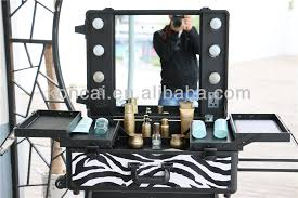 professional makeup station zebra pvc pattern rolling trolley cosmetic with lights