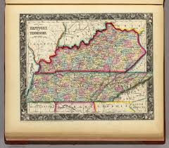 County Map Of Tennessee by Map Of Kentucky And Tennessee Mitchell Samuel Augustus 1860