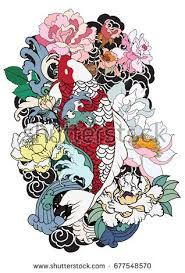 hand drawn koi fish flower tattoo stock vector 681115450