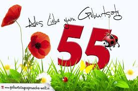 sprüche zum 55 geburtstag geburtstagskarte mit blumenwiese zum 55 geburtstag