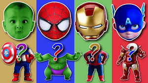 Superhero Family Halloween Costumes Wrong Head Baby Superhero Marvel Spiderman Hulk Ironman Captain