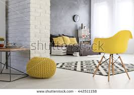 wooden coffee wall spacious bedroom white brick wall wooden stock photo 442511158