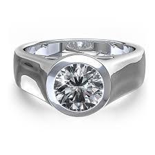 beveled engagement ring wedding ring bezel set wedding rings for women