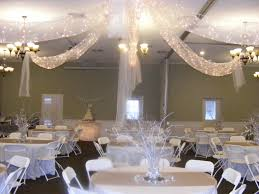 white and silver wedding reception in our church fellowship hall