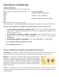 kingdom study guide 28 images study guide classification and 6