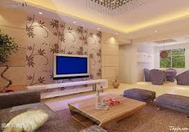 fascinating living room interior decorating with floral wallpaper
