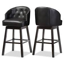 Baxton Studio Bar Stools Avril Modern And Contemporary Faux Leather Tufted Swivel Barstool