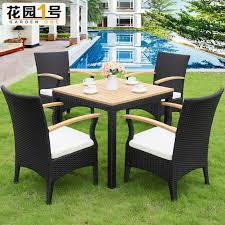 Solid Wood Patio Furniture by Outdoor Furniture Rattan Casual Cafe Tables And Chairs Courtyard