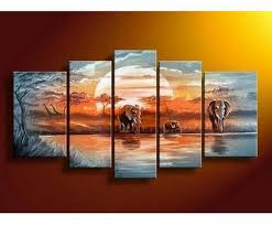 Living Room Art Canvas by Elephant Painting African Painting Abstract Art Canvas Painting