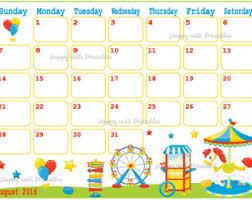 printable calendar 2016 etsy august 2016 calendar for kids monthly calendar printable