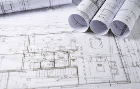 house project architecture plans and sketch of house project stock photo