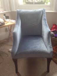 Homesense Uk Chairs Armchair Pale Blue Velvet Upright Chair With Wooden Legs From
