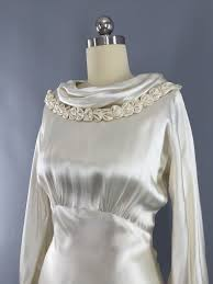satin bias vintage 1930s silk satin wedding dress 30s bias cut ivory gown