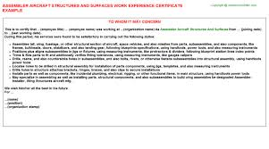 assembler aircraft structures and surfaces work experience certificate