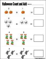 preschool and kindergarten halloween math worksheets