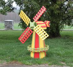amish made ornamental poly wood windmill lawn decor medium