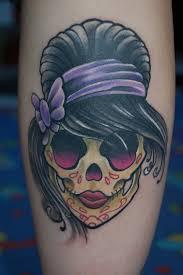 sugar skull with black hair tattooimages biz swag