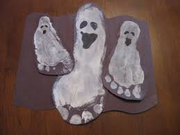 halloween ghost crafts footprint ghosts