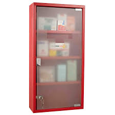 locking wall cabinet steel homcom red steel wall mounted medicine cabinet with 3 shelves
