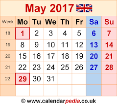 2017 calendar with holidays uk