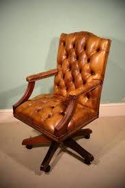 english handmade gainsborough leather desk chair cognac for sale