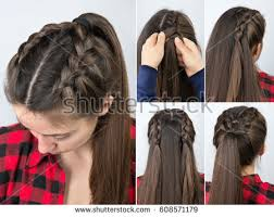 hair tutorial simple braided hairstyle tutorial step by stock photo 608571179