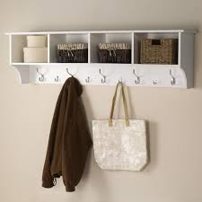 White Wall Shelves With Brackets Prepac 60 In Wall Mounted Coat Rack In White Wec 6016 The Home
